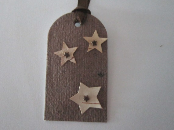 Handmade Paper Christmas Tags - Star Christmas Gift Tags - Recycled Paper Tag - Eco Friendly Tag -