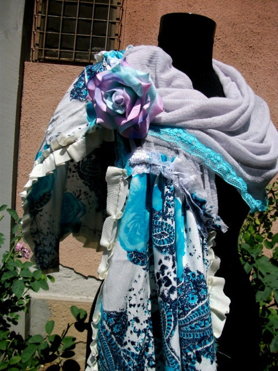 shawl, upcycled clothing, jane austen,lace, shabby chic,victorian, wrap, accessoires, women, summer fashion, wedding, something blue, roses