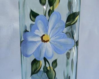Oil bottle, oil bottle with blue flowers, soap dispenser, oil decanter, glass oil bottleoil bottle, kitchen decor,oil and vinegar dispenser