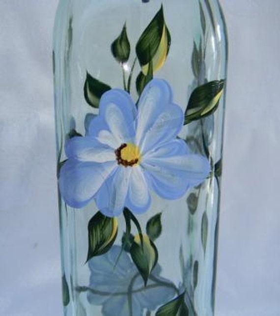 Oil bottle, oil bottle with blue flowers, soap dispenser, oil decanter, glass oil bottleoil bottle, kitchen decor,oil and vinegar dispenser