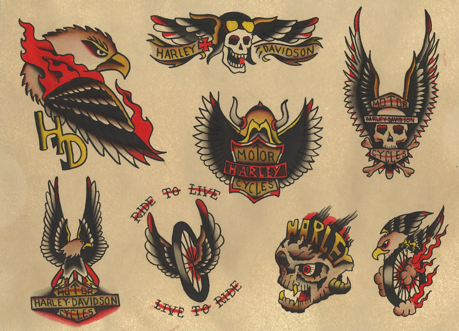 Traditional harley davidson biker tattoo flash by for Traditional motorcycle tattoo
