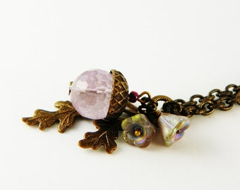 Amethyst  Stone Pendant Necklace / Natural Stone / Acorn / Lavender