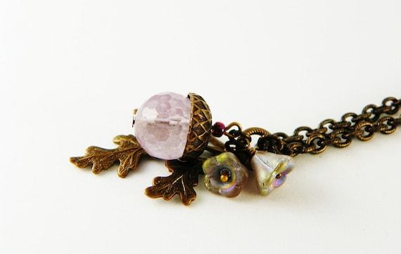 Amethyst  Stone Pendant Necklace / Natural Stone / Acorn / Lavender