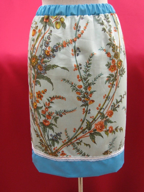 knee length caribbean blue floral print skirt plus made in USA