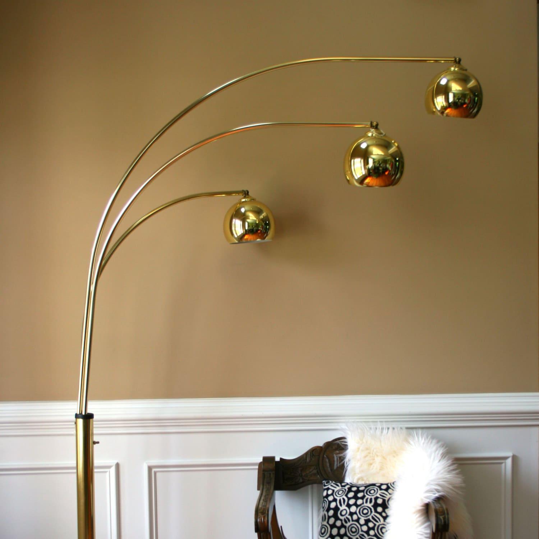 Mid Century Orb Lamp: Vintage Brass Arc Floor Lamp Mid Century Orb Lamp Metallic