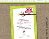 Custom Mod Animal Owl Baby Shower Green and Pink - Personalized Printable Digital Invitation - Personal Use Only