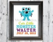 Personalized Little Monster Art Print - Blue - Custom Personalized Printed Kid's Wall Art by Kelly Medina