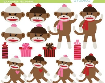 Sock Monkey Red and Pink - Clip Art Set - Digital Elements Commercial use for Cards, Stationery and Paper Crafts and Products