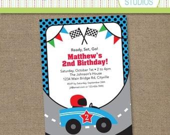 Custom Race Car Birthday - Blue - Printable Digital Birthday Invitation - Personal Use Only