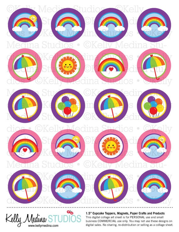 Rainbow Pink and Purple - 1.5 inch Circle Digital Collage Sheet - Commercial use for Cupcake Toppers, Magnets, Paper Crafts and Products