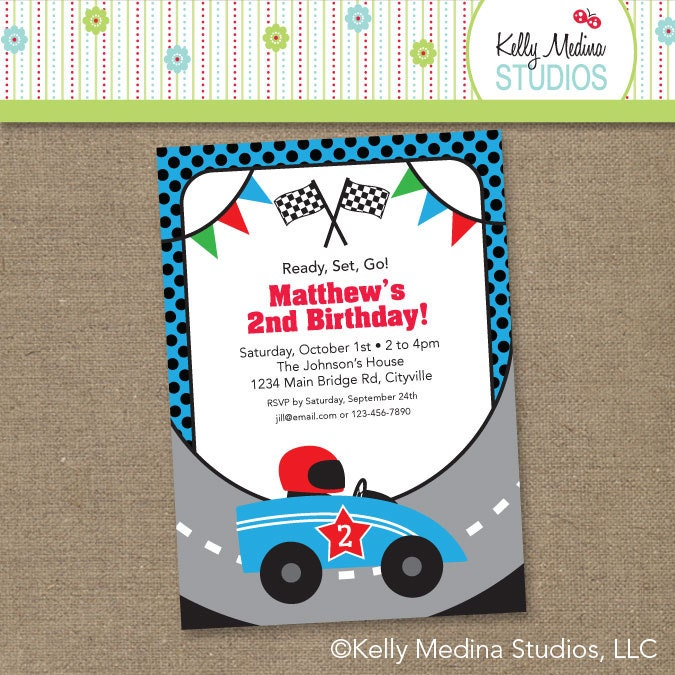 custom race car birthday blue printable digital birthday, Birthday invitations