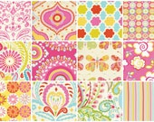 """Kumari Garden- Pink Charm Pack by Dena Designs -- 24 - 5"""" x 5"""" Quilting Fabric Squares"""