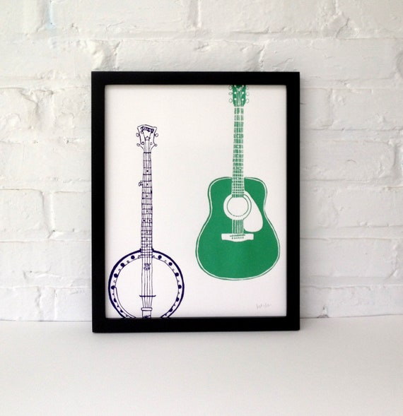 Banjo and Guitar Screen Printed Poster 11 x 14, Purple and Green