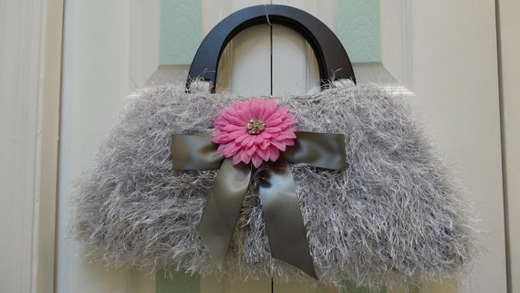 RESERVED  for Donna, Silver grey, extra large,  handbag/purse, hand knitted in fun fur  and worsted yarn with black wood handles