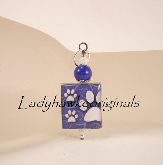 Blue Paw Print Scrabble Tile Pendant Charm Beaded Altered Art OOAK OKetsy
