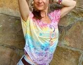 RAINBOW BEACH TOP embellished shirt burnout tee boho style embroidery applique bohemian clothing