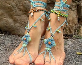 reserved BAREFOOT SANDALS turquoise SUNRISE bridal sandals bohemian shoes soleless sandals foot jewelry beach anklets