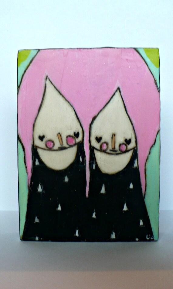 RESERVED    Pink twinsies Black pyramid ACEO folk art bees wax wall art mixed media painting