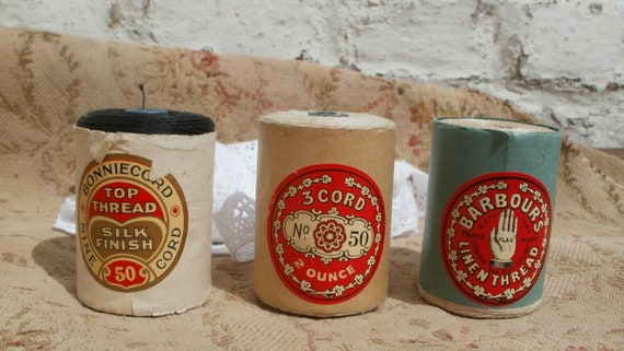 RESERVED FOR RICHARD reels Lovely collection of three vintage Linen spools Barbour & Boniecord