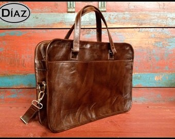 DIAZ Medium Leather Briefcase Portfolio / Bag  in Antique Dark Brown - (15in MacBook Pro) - Free Monograming  -