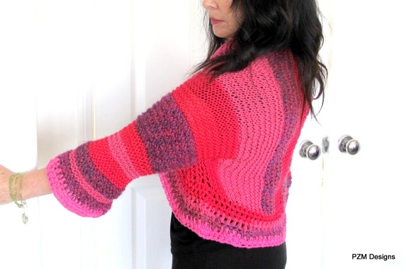 Crochet Shrug All Out Pinks, color block pinks, springtime outerwear