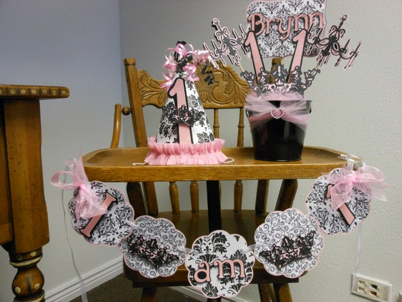Items similar to princess birthday pink and black damask for 1st birthday decoration packages