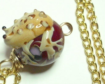 Frog Lampwork Red Gold Wire Wrapped Handmade Pendant Necklace