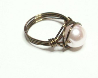 Baby Pink  Vintage Bronze Handmade Wire Wrapped Ring