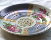 Lusterware saucer in lovely lavender with painted gold and orchid design
