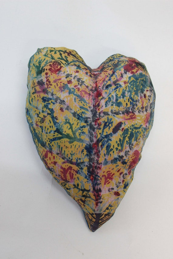 Hand painted and printed lavender silk heart