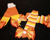 Candy Corn Leg Warmers--Embellished with Adorable Bows--Choose from two styles