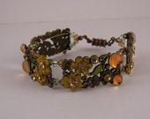 In time for Autumn Fall Floral Link Crystal magnetic clasp copper and Antique gold tone