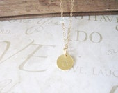 CHERISH something blue personalized hand stamped initial necklace (silver or gold)