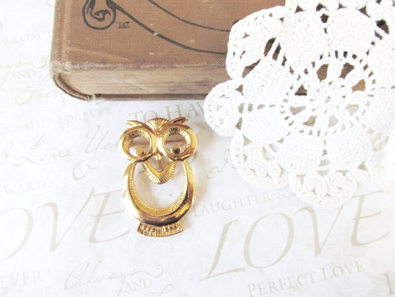 BERNIE vintage golden owl brooch (gold)