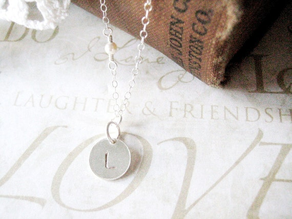 ADORED personalized hand stamped initial necklace (silver or gold)