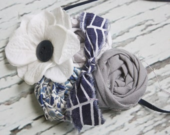 Navy Grey- navy blue and grey flower, simple fabric and rosette headband