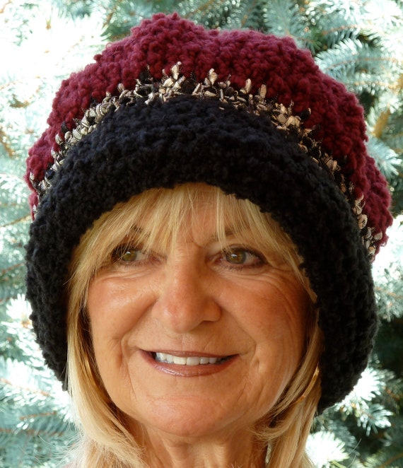 Crochet Hat - Larger Size Hat - Black - Winter Accessories - Big Head Hat