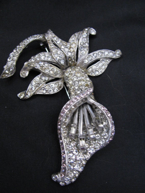 HUGE Art Deco Orchid Pave Rhinestone Brooch - Original