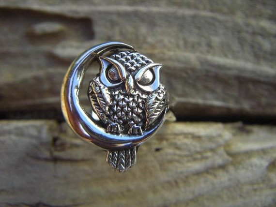Owl Ring Sitting By The Moon In Sterling Silver