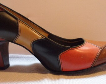 60s  polly preston mad men color block shoes   pumps heels size 6 super vintage gems