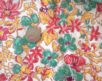 1940's Vintage Floral Fabric -Bright Kitschy floral design in Red Green and Yellow Roses - never used Quilting- Half Yard