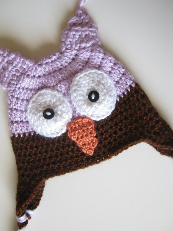 Crochet Owl Hat Purple and Brown Newborn to 3 months Ready to Ship