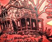 DESTASH HUGE Haunted House Rubber Stamp