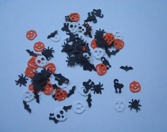 100 Hand Punched Halloween Shapes - Bats, Cats, Pumpkins, Spiders, Skulls - Scrapbooking, Cards, Confetti