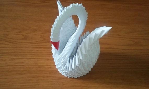 cygne en origami 3d blanc