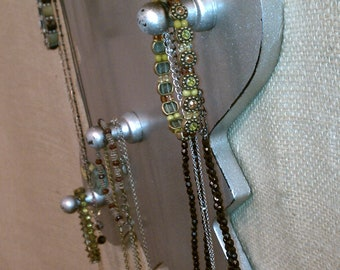 Upcycled Jewelry Organizing Display (silver plaque)