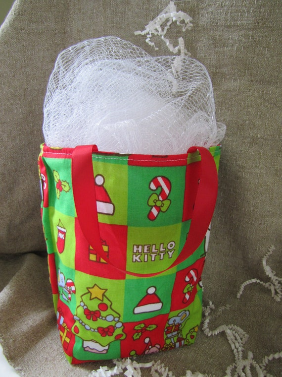 Items similar to hello kitty fabric christmas gift bag on etsy