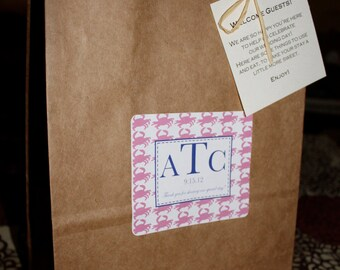 Monogram Wedding Welcome Bag or Out of Guest Bags with a Unique Crab Design set of 12 Pink and Blue