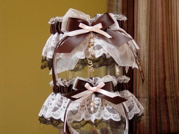 Pink and Brown Lace Wedding Garter Set