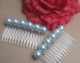 Vintage hair combs matched pair pale blue faux pearl hair accessories hair barrette hair clip hair slide hair jewelry hair ornament